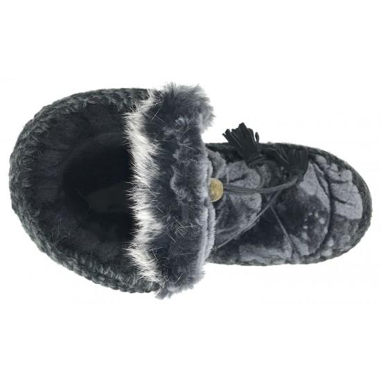 MOU Eskimo Dream Catcher Lace Up And Rabbit Fur BKFLOW