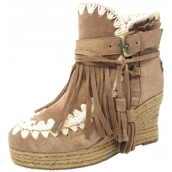 MOU Eskimo Jute wedge belt and buckles suede Cam